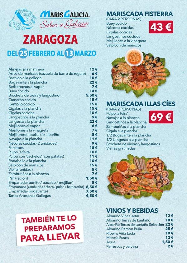 Menú MarisGalicia Zaragoza